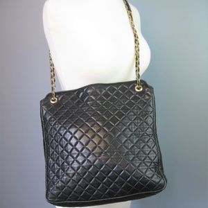 Vintage 1980s Black Quilted Lambskin Tote Chain